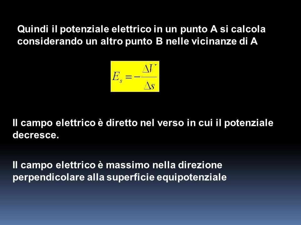 Quindi il potenziale elettrico in un punto A si calcola considerando un altro punto B nelle vicinanze di A