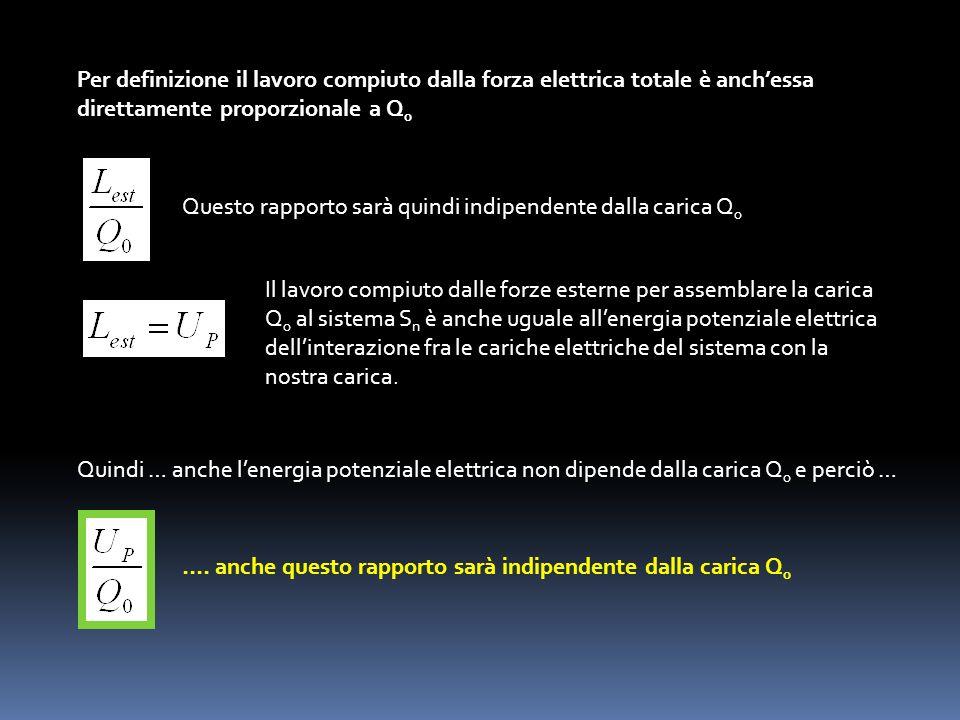 Per definizione il lavoro compiuto dalla forza elettrica totale è anch'essa direttamente proporzionale a Q0