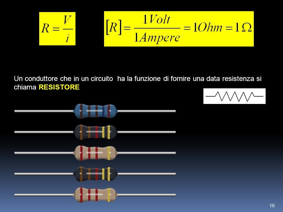 Un conduttore che in un circuito ha la funzione di fornire una data resistenza si chiama RESISTORE