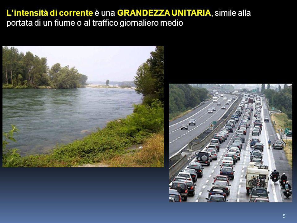 L'intensità di corrente è una GRANDEZZA UNITARIA, simile alla portata di un fiume o al traffico giornaliero medio