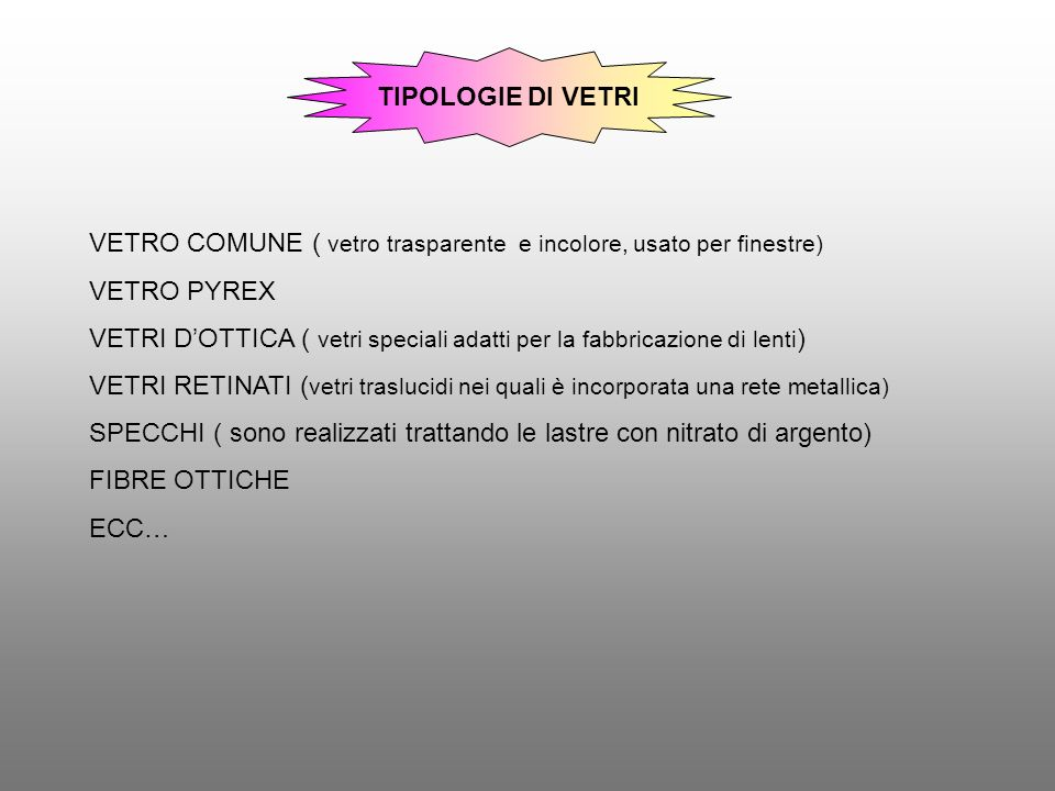 TIPOLOGIE DI VETRI VETRO COMUNE ( vetro trasparente e incolore, usato per finestre) VETRO PYREX.