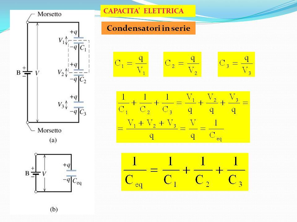 CAPACITA' ELETTRICA Condensatori in serie