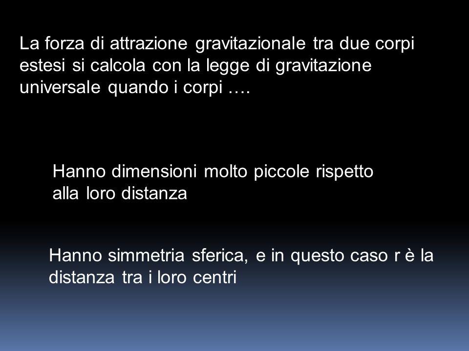 La forza di attrazione gravitazionale tra due corpi estesi si calcola con la legge di gravitazione universale quando i corpi ….