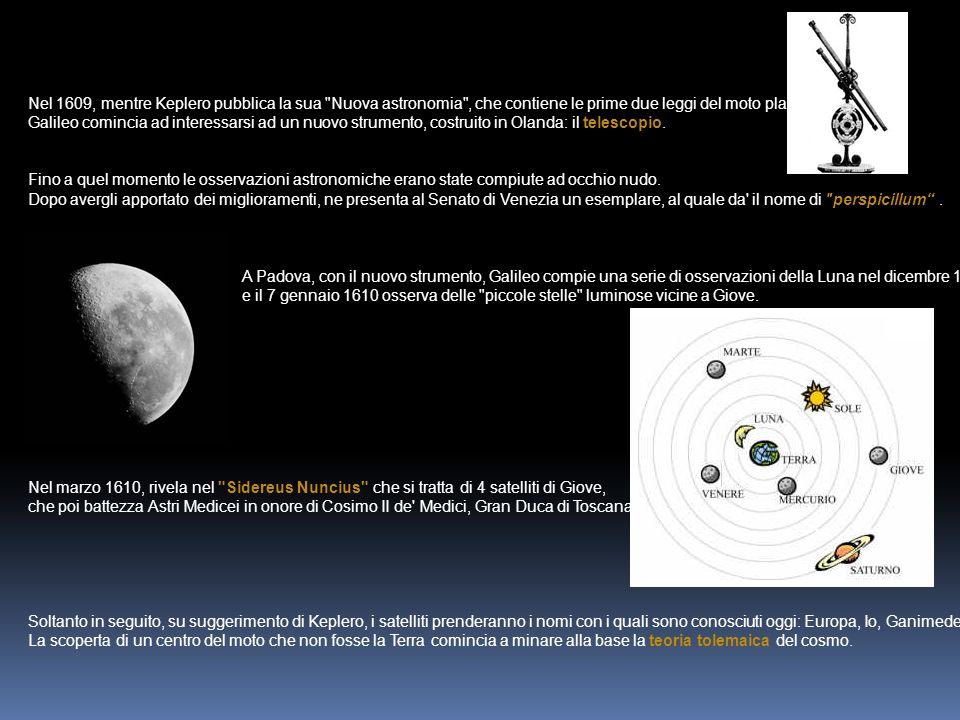 Nel 1609, mentre Keplero pubblica la sua Nuova astronomia , che contiene le prime due leggi del moto planetario,