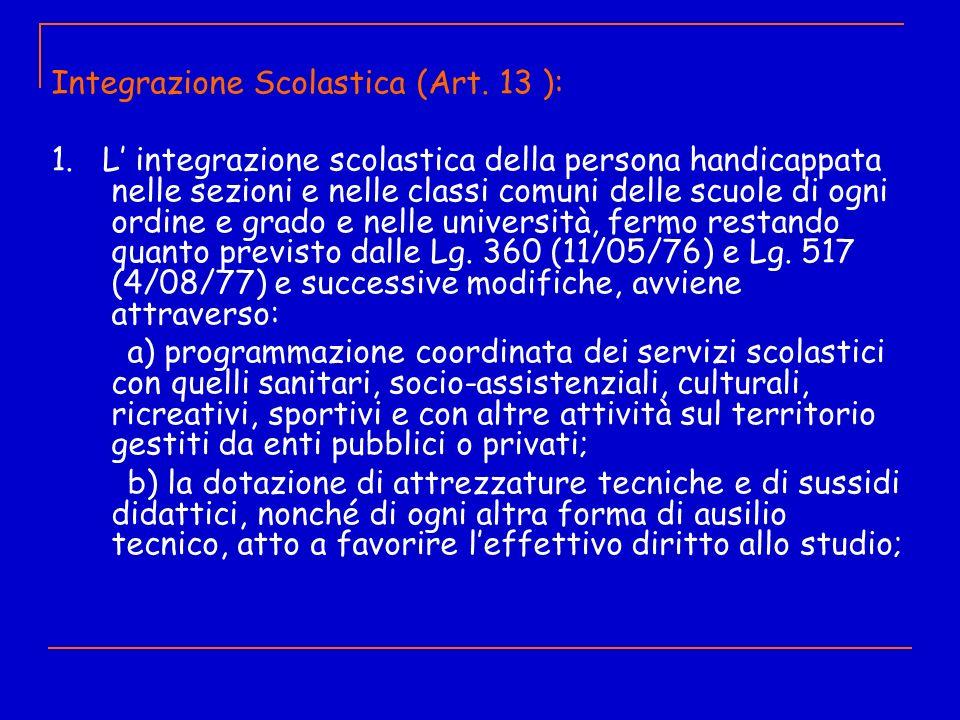 Integrazione Scolastica (Art. 13 ):