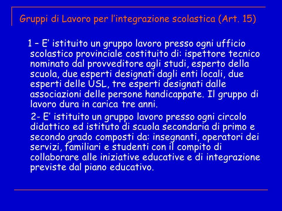 Gruppi di Lavoro per l'integrazione scolastica (Art. 15)