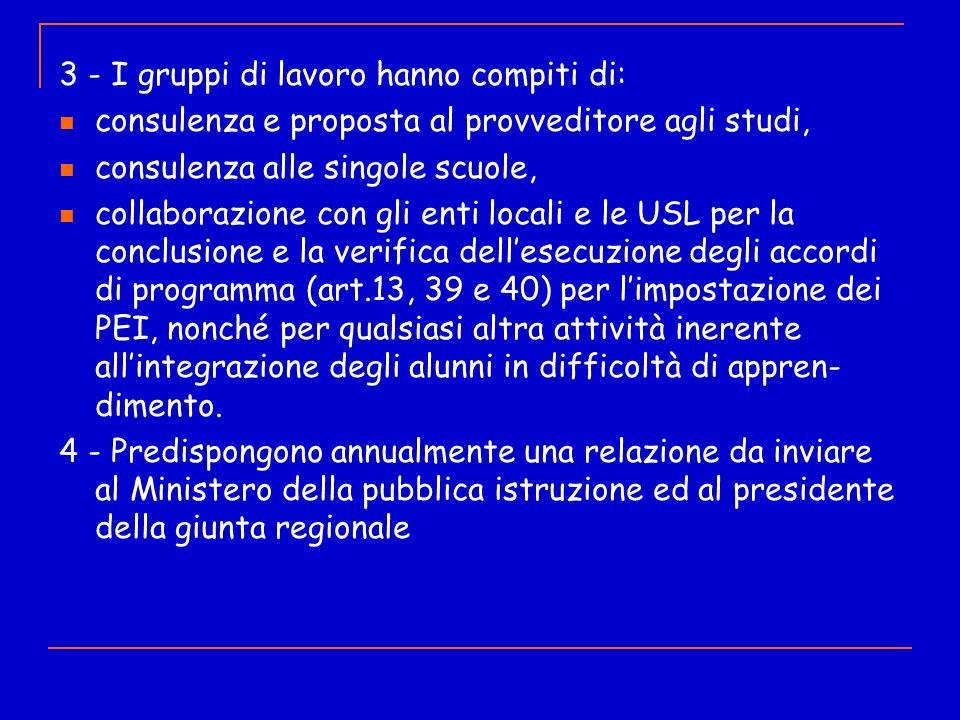 3 - I gruppi di lavoro hanno compiti di: