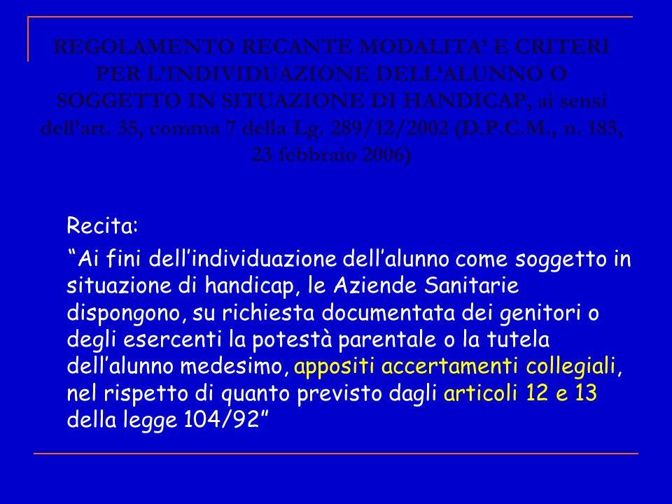 REGOLAMENTO RECANTE MODALITA' E CRITERI PER L'INDIVIDUAZIONE DELL'ALUNNO O SOGGETTO IN SITUAZIONE DI HANDICAP, ai sensi dell'art. 35, comma 7 della Lg. 289/12/2002 (D.P.C.M., n. 185, 23 febbraio 2006)