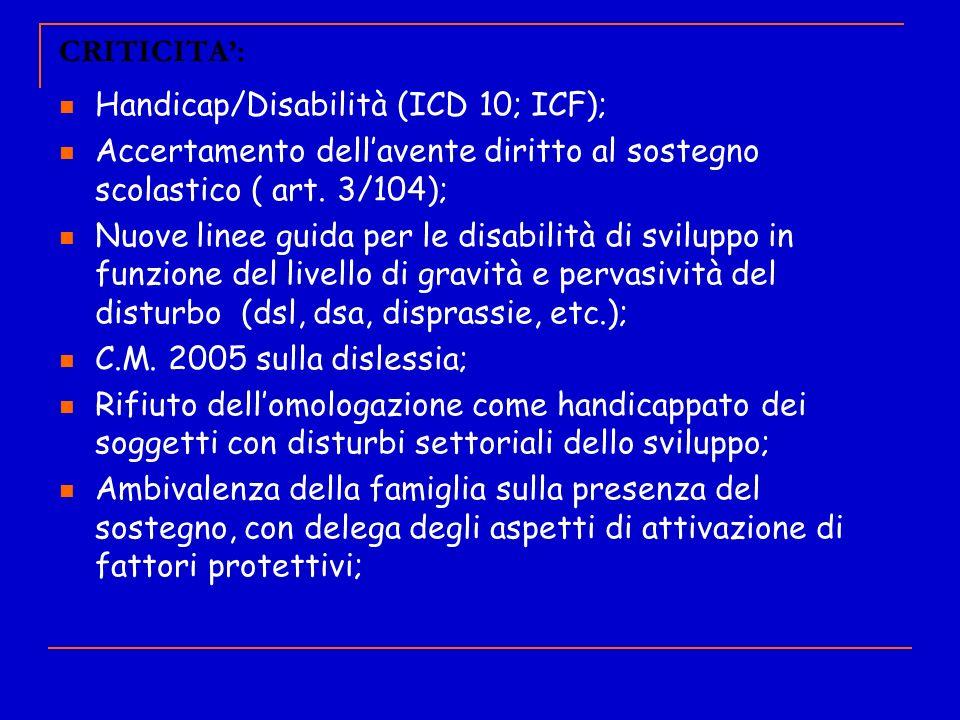 CRITICITA': Handicap/Disabilità (ICD 10; ICF); Accertamento dell'avente diritto al sostegno scolastico ( art. 3/104);