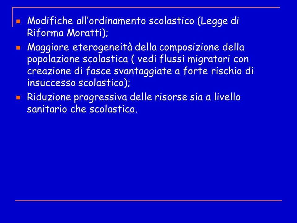 Iter di presa in carico Modifiche all'ordinamento scolastico (Legge di Riforma Moratti);
