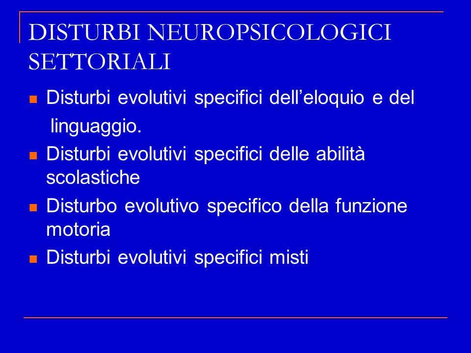 DISTURBI NEUROPSICOLOGICI SETTORIALI