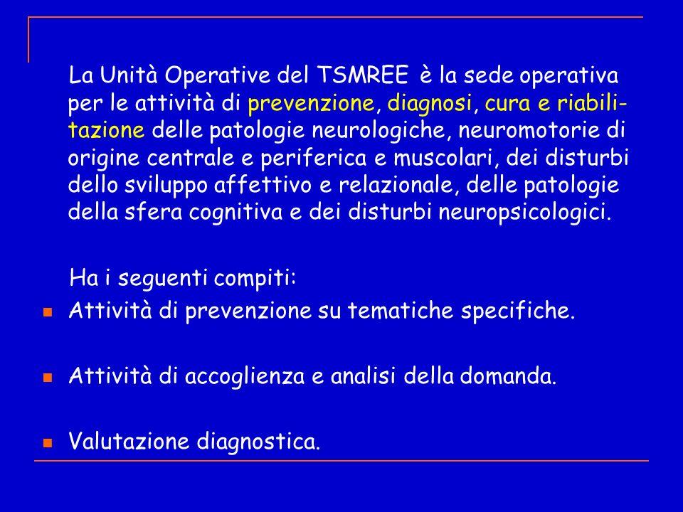 La Unità Operative del TSMREE è la sede operativa per le attività di prevenzione, diagnosi, cura e riabili-tazione delle patologie neurologiche, neuromotorie di origine centrale e periferica e muscolari, dei disturbi dello sviluppo affettivo e relazionale, delle patologie della sfera cognitiva e dei disturbi neuropsicologici.