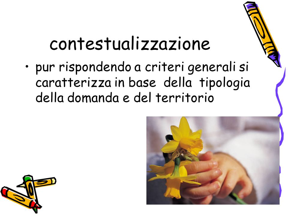 contestualizzazionepur rispondendo a criteri generali si caratterizza in base della tipologia della domanda e del territorio.