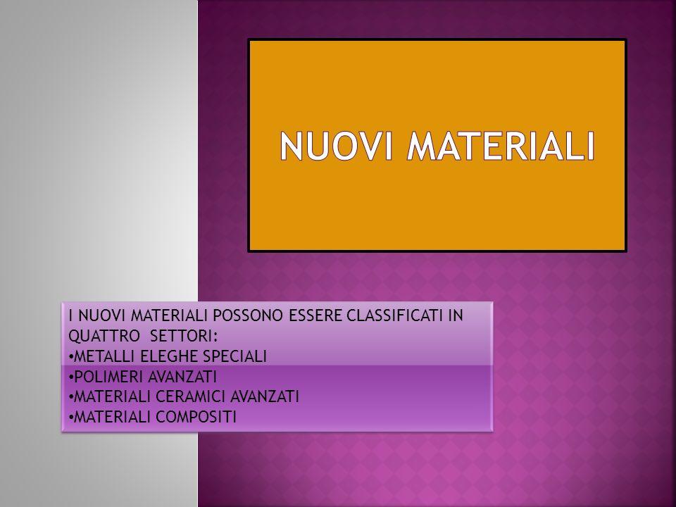 NUOVI MATERIALI I NUOVI MATERIALI POSSONO ESSERE CLASSIFICATI IN QUATTRO SETTORI: METALLI ELEGHE SPECIALI.