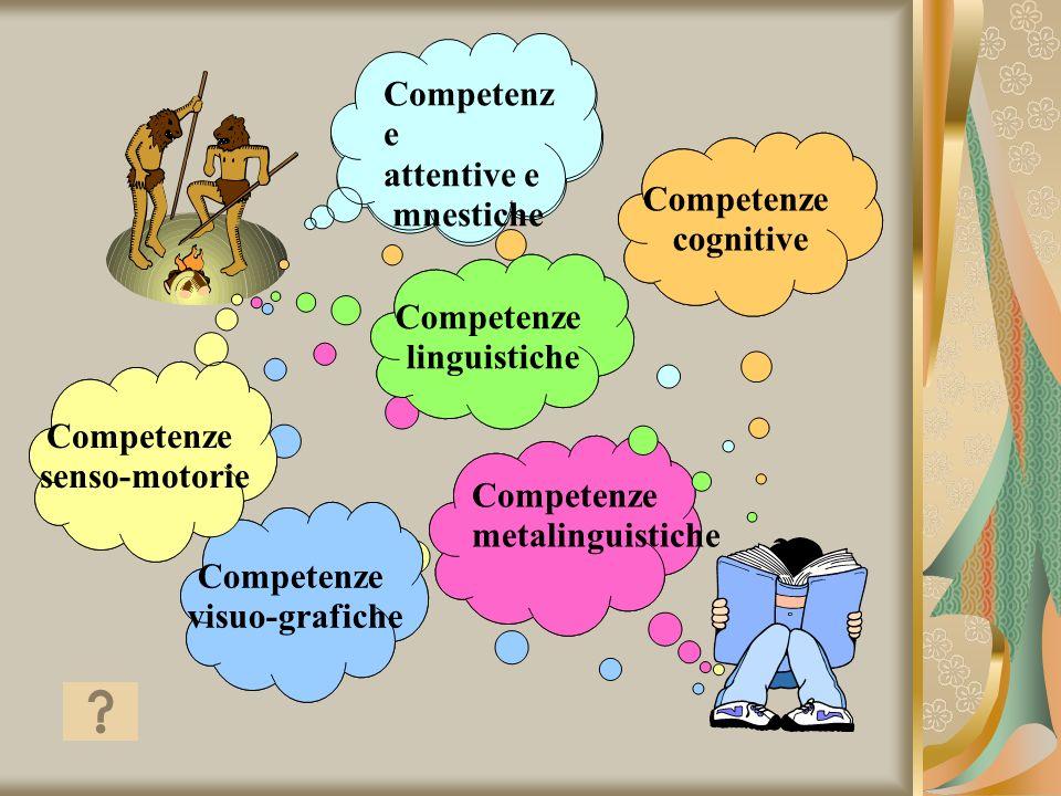 Competenze senso-motorie. visuo-grafiche. linguistiche. simboliche. metalinguistiche. attentive e.