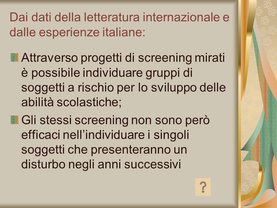 Dai dati della letteratura internazionale e dalle esperienze italiane: