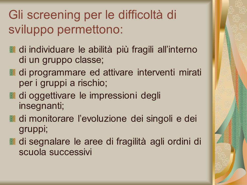 Gli screening per le difficoltà di sviluppo permettono: