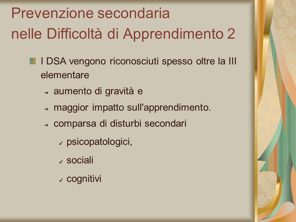 Prevenzione secondaria nelle Difficoltà di Apprendimento 2