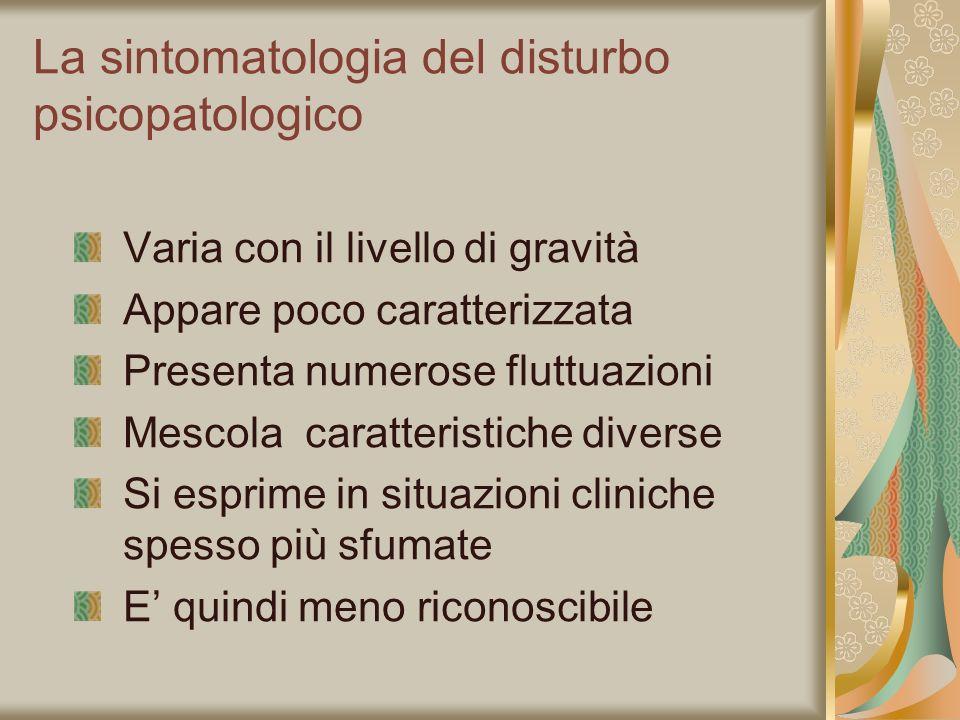 La sintomatologia del disturbo psicopatologico