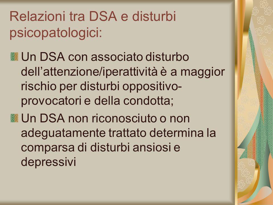 Relazioni tra DSA e disturbi psicopatologici: