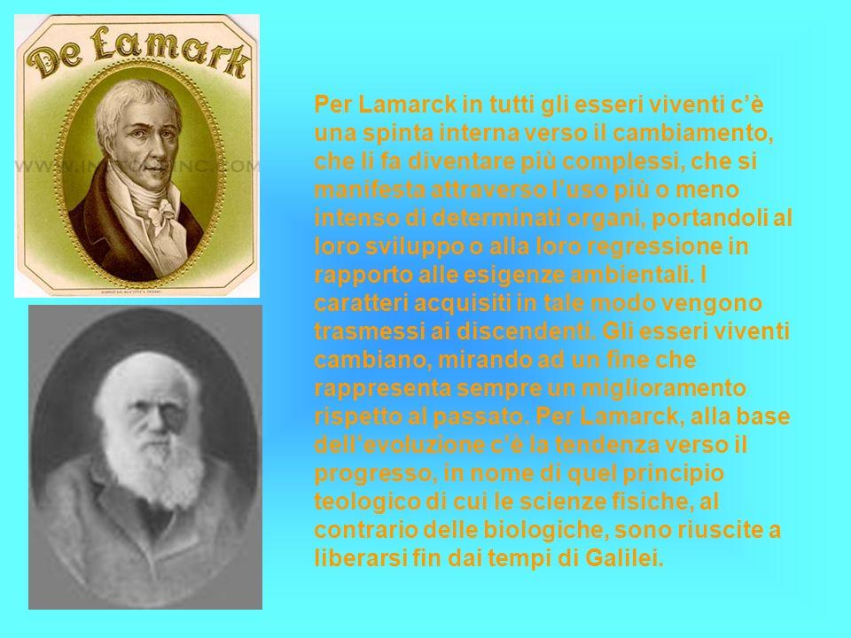 Per Lamarck in tutti gli esseri viventi c'è una spinta interna verso il cambiamento, che li fa diventare più complessi, che si manifesta attraverso l'uso più o meno intenso di determinati organi, portandoli al loro sviluppo o alla loro regressione in rapporto alle esigenze ambientali.