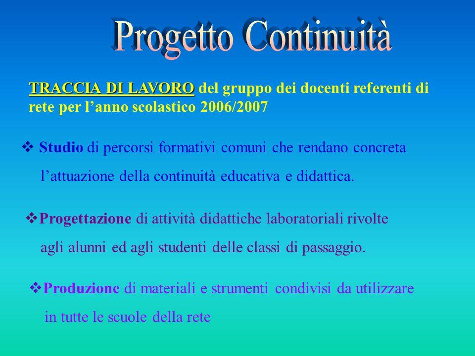 Progetto Continuità TRACCIA DI LAVORO del gruppo dei docenti referenti di rete per l'anno scolastico 2006/2007.