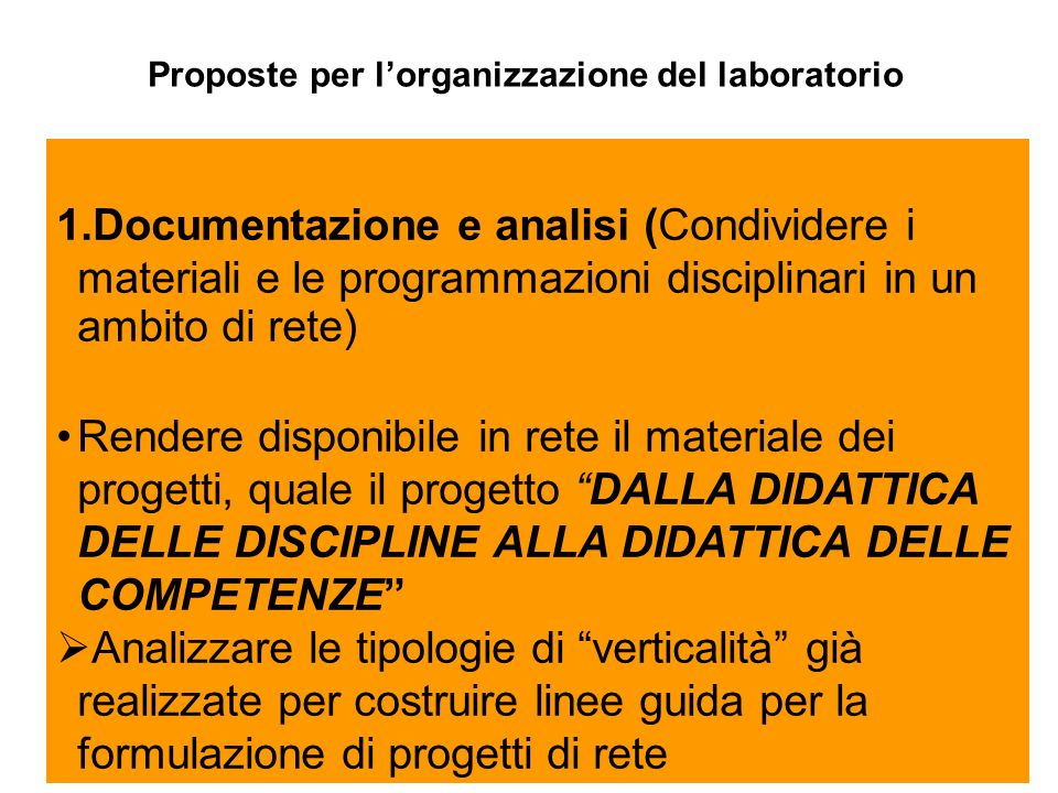 Proposte per l'organizzazione del laboratorio