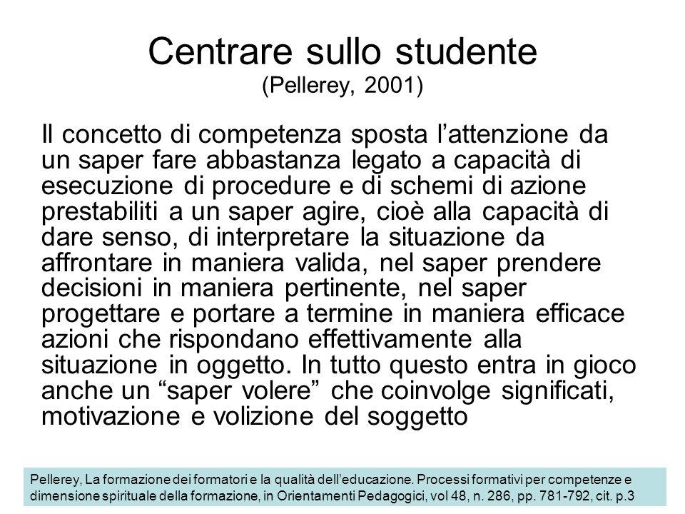 Centrare sullo studente (Pellerey, 2001)