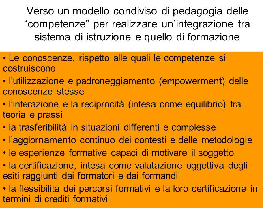 Verso un modello condiviso di pedagogia delle competenze per realizzare un'integrazione tra sistema di istruzione e quello di formazione