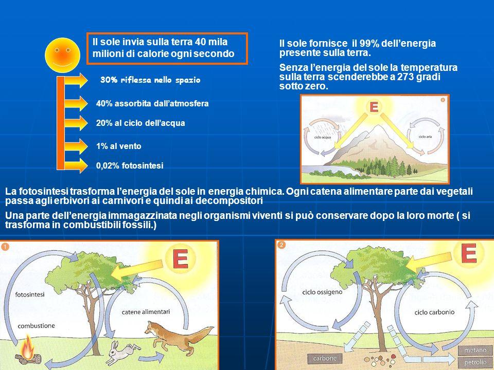 L'ENERGIA CHE CIRCOLA SULLA TERRA PROVIENE IN GRAN PARTE DAL SOLE