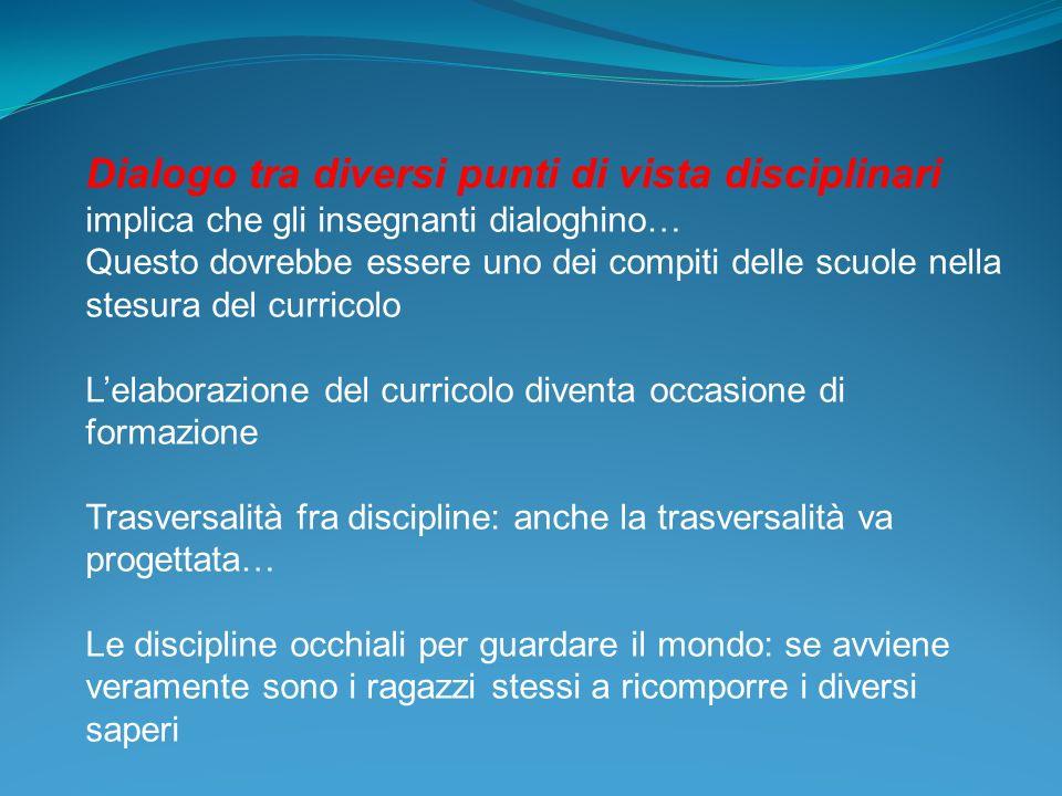 Dialogo tra diversi punti di vista disciplinari implica che gli insegnanti dialoghino…