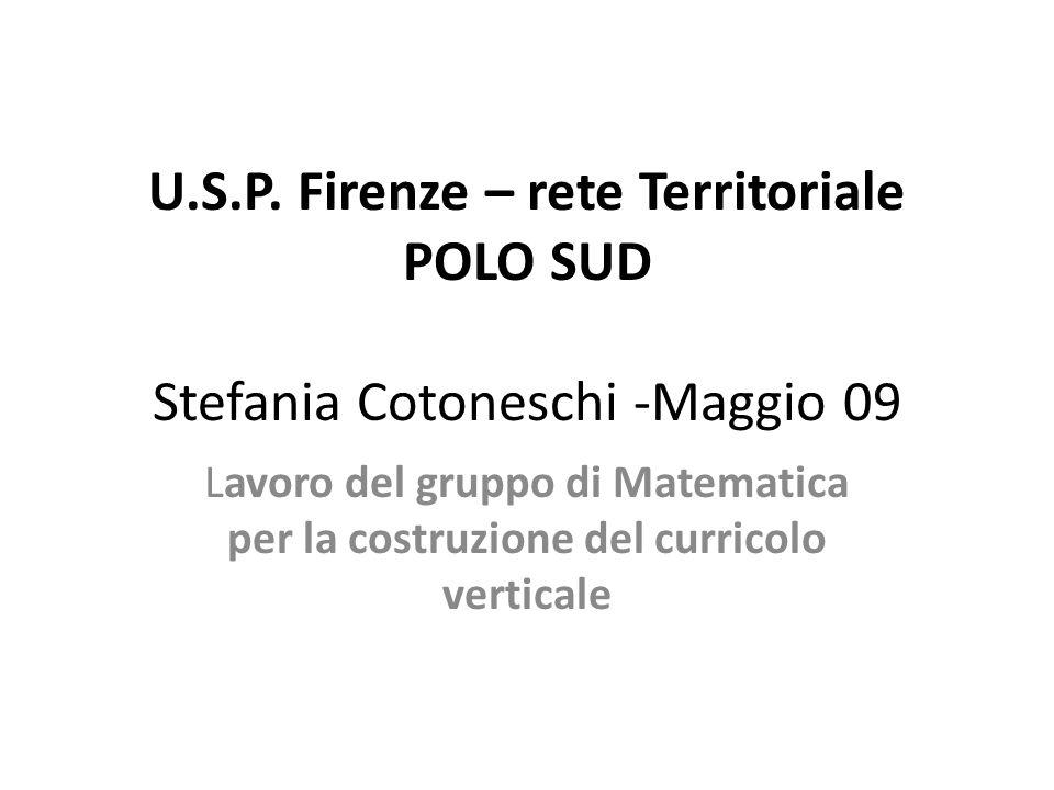 U.S.P. Firenze – rete Territoriale POLO SUD Stefania Cotoneschi -Maggio 09