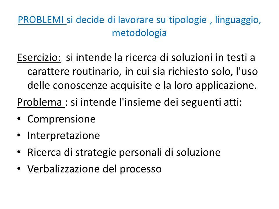 PROBLEMI si decide di lavorare su tipologie , linguaggio, metodologia