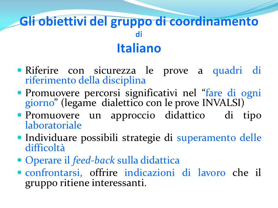 Gli obiettivi del gruppo di coordinamento di Italiano