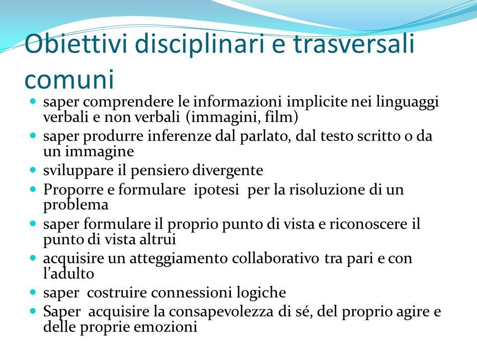 Obiettivi disciplinari e trasversali comuni