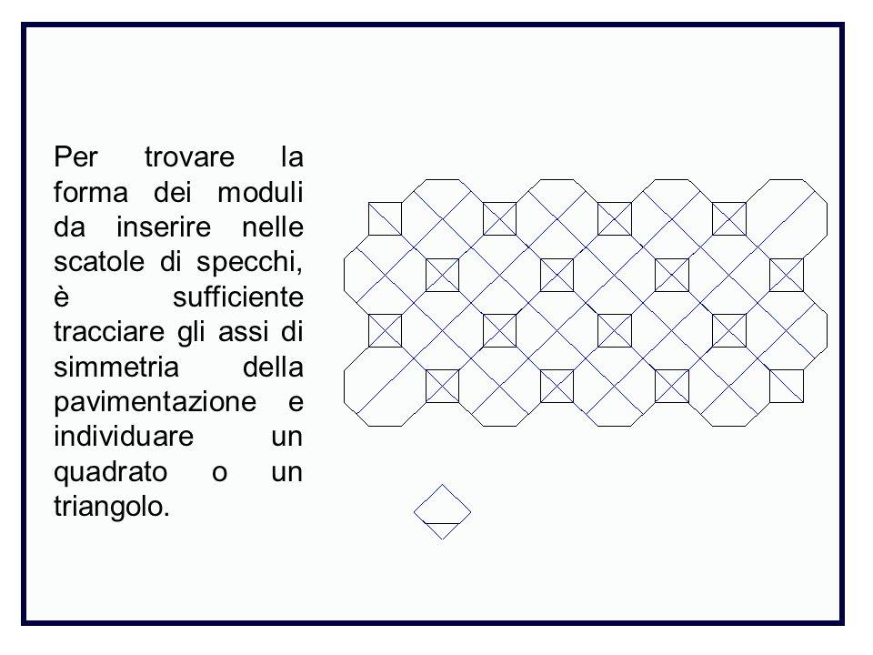 Per trovare la forma dei moduli da inserire nelle scatole di specchi, è sufficiente tracciare gli assi di simmetria della pavimentazione e individuare un quadrato o un triangolo.