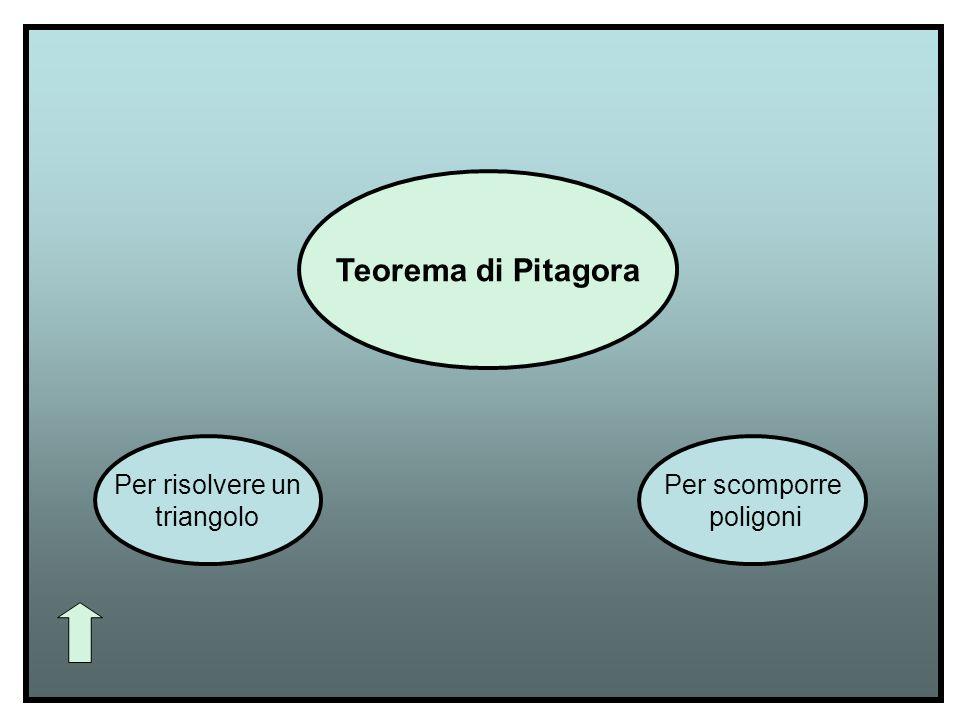 Teorema di Pitagora Per risolvere un triangolo Per scomporre poligoni