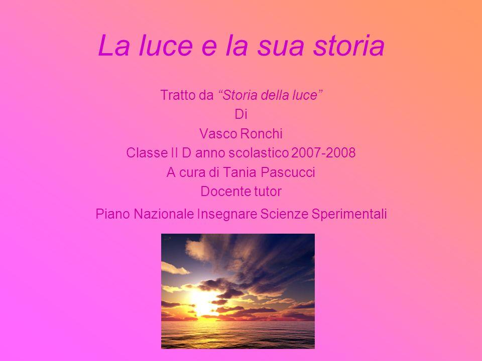 La luce e la sua storia Tratto da Storia della luce Di Vasco Ronchi