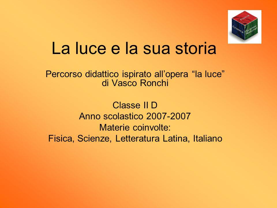 La luce e la sua storia Percorso didattico ispirato all'opera la luce di Vasco Ronchi. Classe II D.