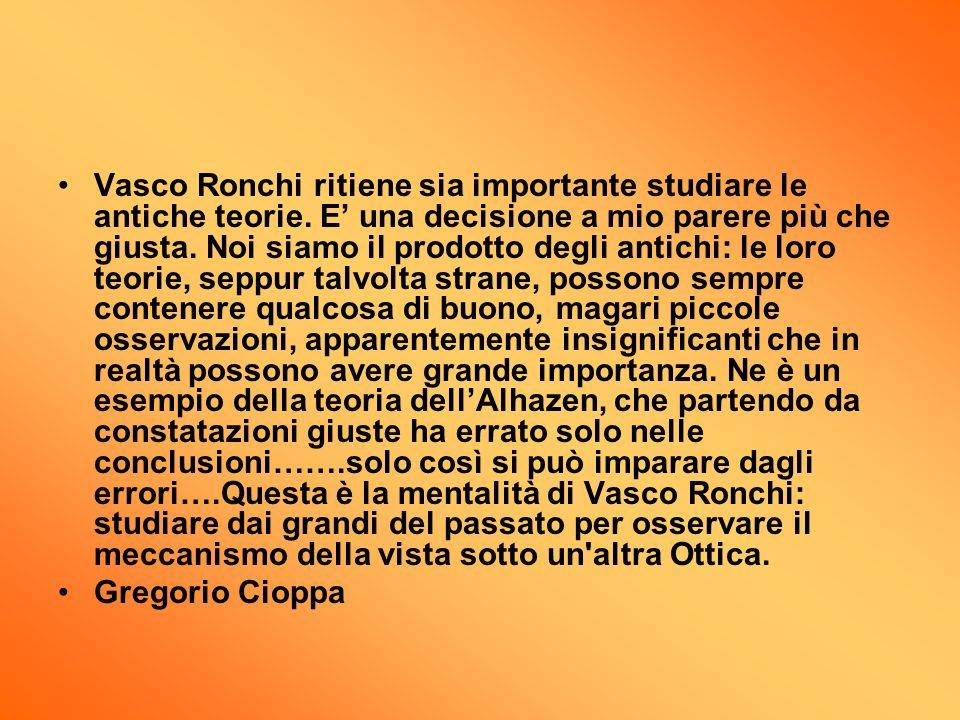Vasco Ronchi ritiene sia importante studiare le antiche teorie
