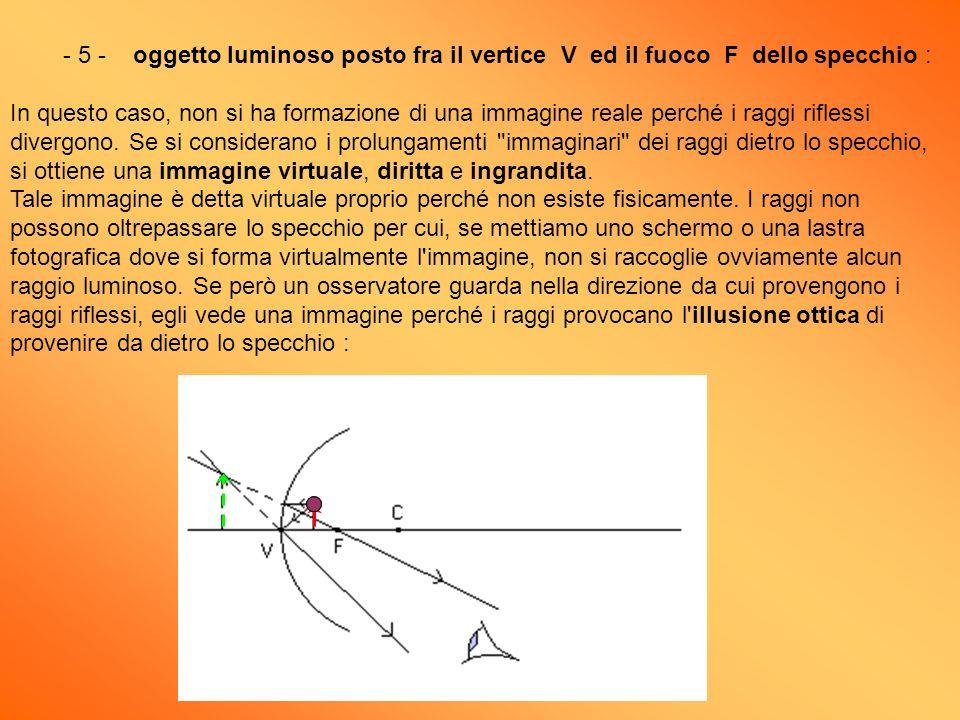 - 5 - oggetto luminoso posto fra il vertice V ed il fuoco F dello specchio : In questo caso, non si ha formazione di una immagine reale perché i raggi riflessi divergono.