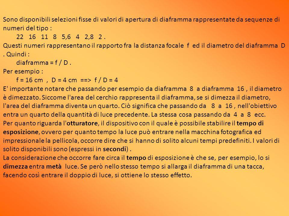 Sono disponibili selezioni fisse di valori di apertura di diaframma rappresentate da sequenze di numeri del tipo : 22 16 11 8 5,6 4 2,8 2 .