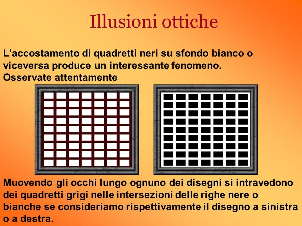 Illusioni ottiche L accostamento di quadretti neri su sfondo bianco o viceversa produce un interessante fenomeno.