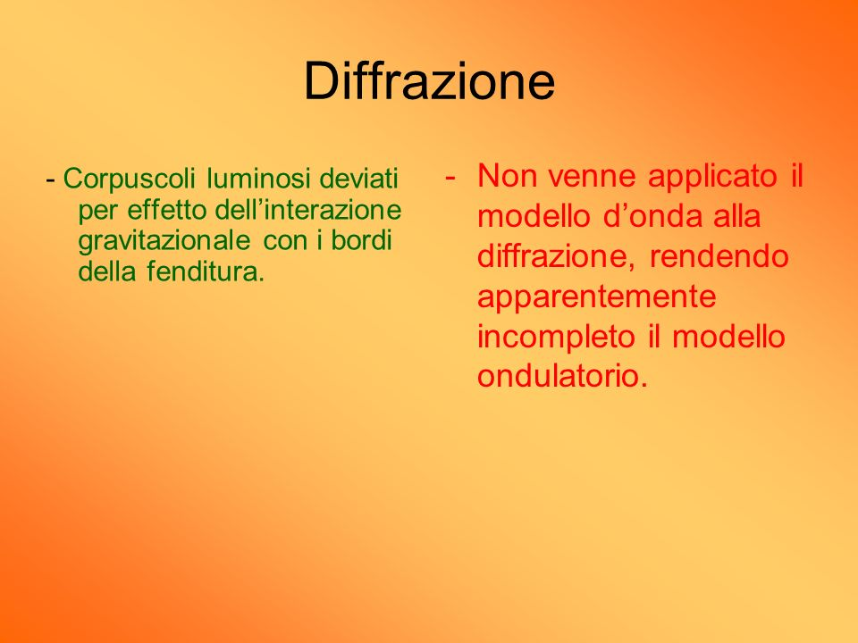 Diffrazione Non venne applicato il modello d'onda alla diffrazione, rendendo apparentemente incompleto il modello ondulatorio.