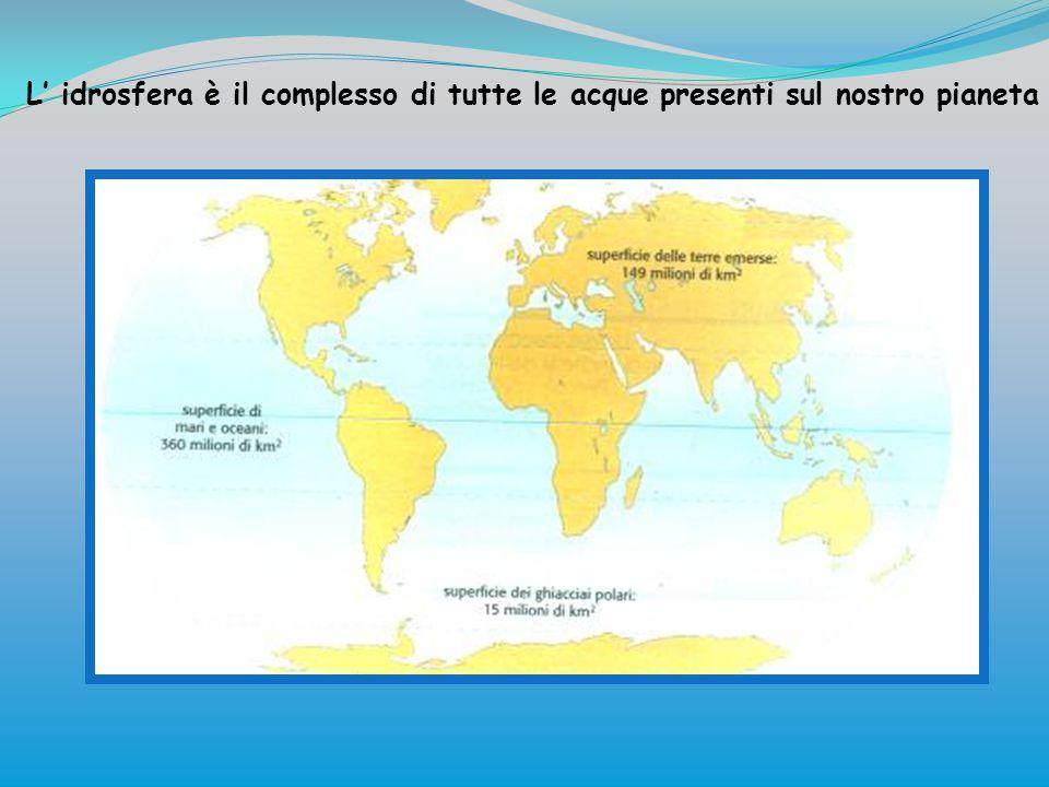 L' idrosfera è il complesso di tutte le acque presenti sul nostro pianeta