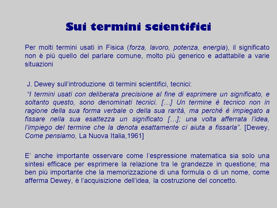Sui termini scientifici
