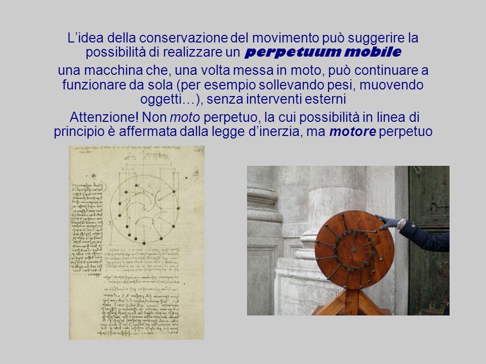 L'idea della conservazione del movimento può suggerire la possibilità di realizzare un perpetuum mobile
