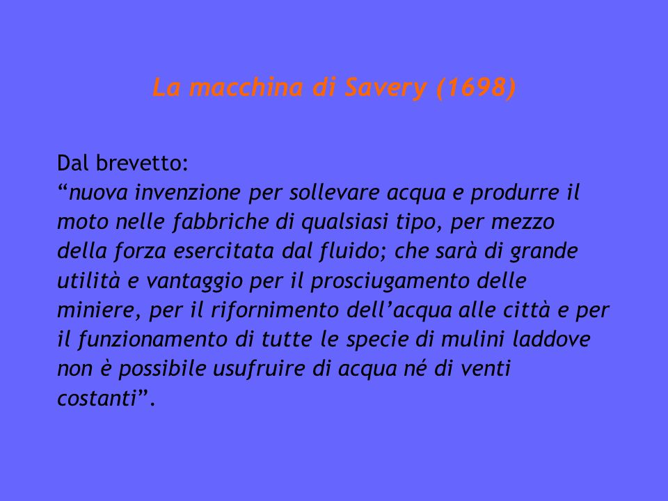 La macchina di Savery (1698)