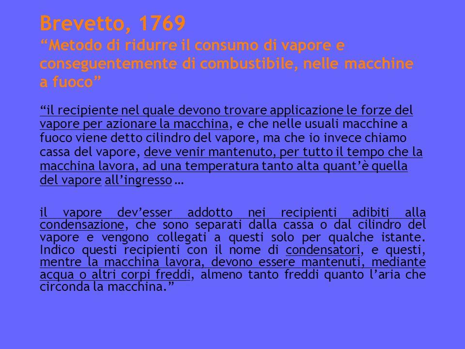 Brevetto, 1769 Metodo di ridurre il consumo di vapore e conseguentemente di combustibile, nelle macchine a fuoco