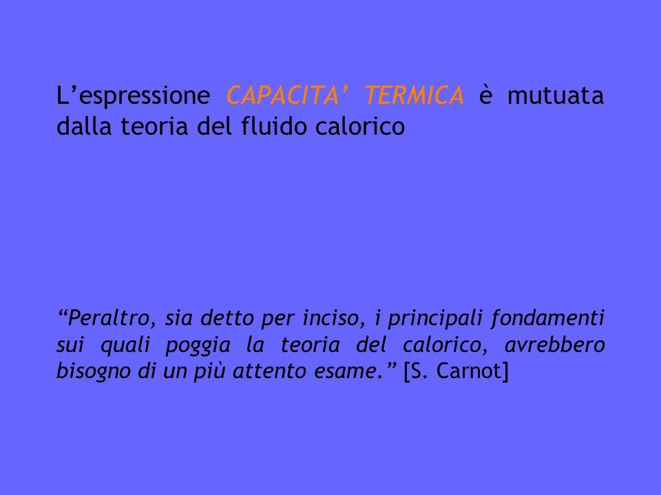 L'espressione CAPACITA' TERMICA è mutuata dalla teoria del fluido calorico